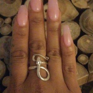 Vintage snake ring sterling silver 925.